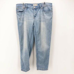 Seven7 Womens Cropped Straight Leg Jeans Blue 14